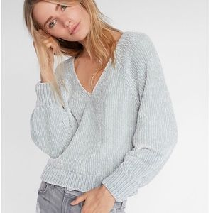 Luxurious Plush V-neck Chenille Sweater